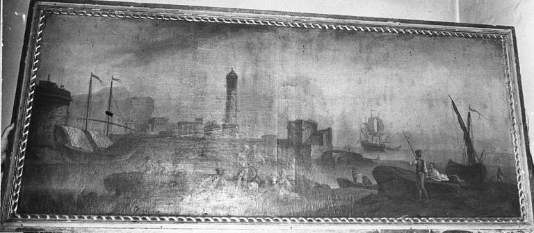tableau : Marine, huile sur toile fin 18e siècle