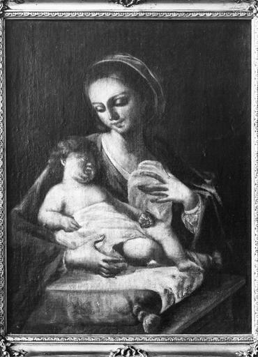 Tableau : Vierge à l'Enfant au coussin, cadre