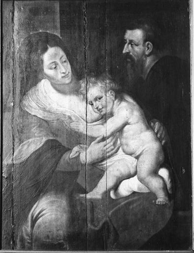 tableau (panneau peint) : La Sainte Famille, d'après Rubens, 17e siècle