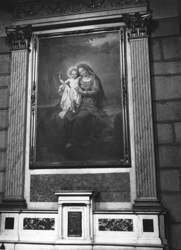 Autel secondaire, tabernacle, retable, tableau : La Vierge à la Fontaine