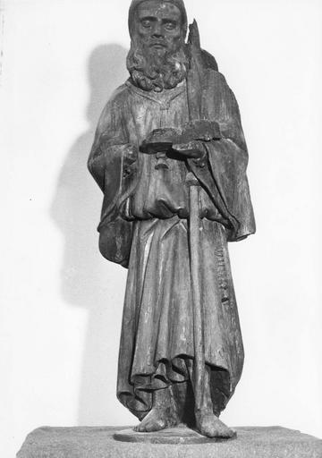 statue : Saint Antoine, bois polychrome, état après restauration, 1976