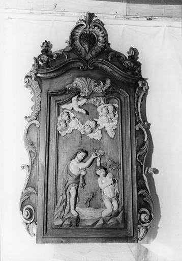 retable des fonts baptismaux, bois sculpté et polychrome, 18e siècle