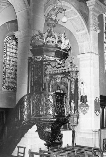 chaire à prêcher, bois sculpté, 18e siècle