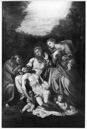 tableau : Déposition de Croix, huile sur toile, 18e siècle, après restauration