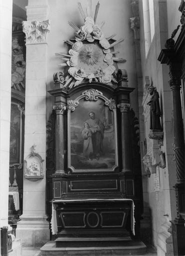 autel et retable latéral droit, tableau : Saint Joseph et l'Enfant Jésus, 19e siècle