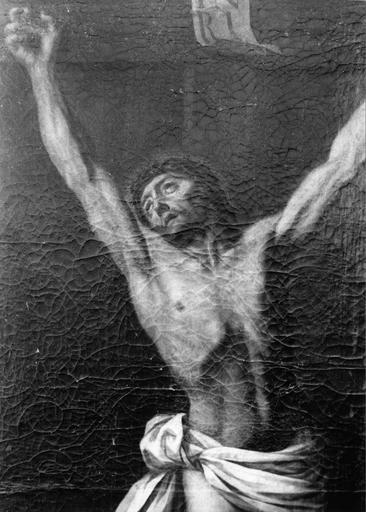 Tableau : Christ en croix, XVIIIe siècle, détail du visage du Christ