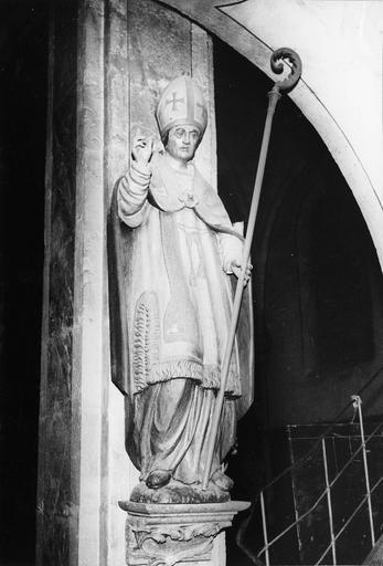 statue : Saint Léger, bois polychrome, 17e siècle