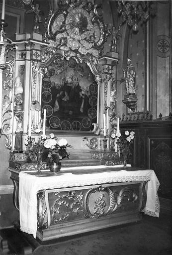 retable de l'autel latéral sud, tableau : Les Mystères de la Vierge, 18e siècle