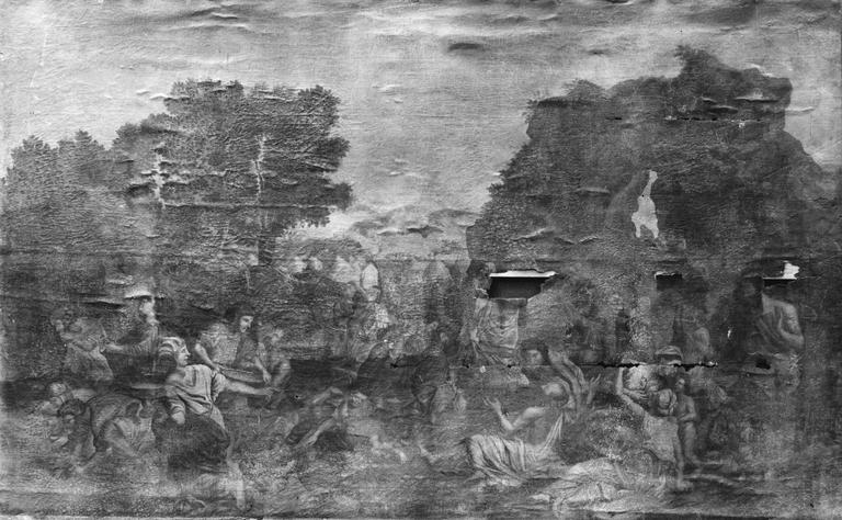tableau : La Manne, d'après Poussin, 18e siècle, avant restauration