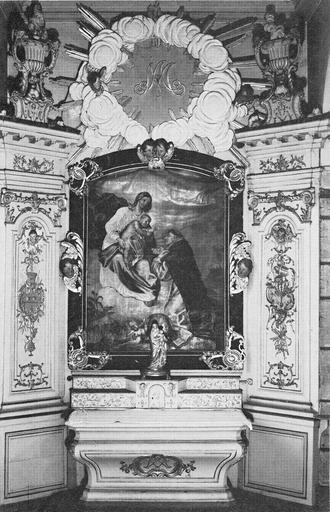 autel latéral nord, tableau : La Vierge à l'Enfant donnant le Rosaire à saint Dominique, 18e siècle