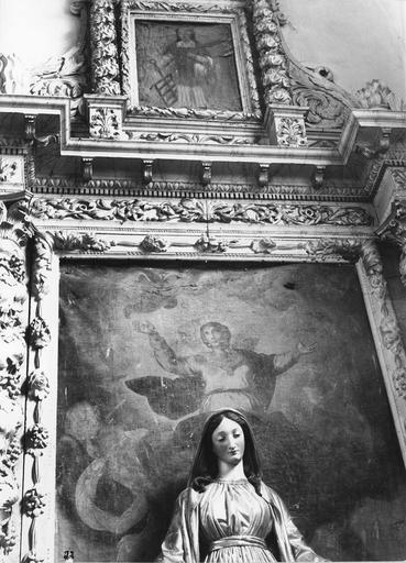 autel latéral, détail du tableau : L'Assomption et statue : Vierge
