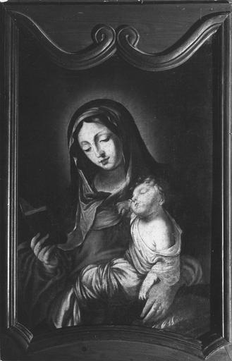 tableau : Vierge à l'Enfant, huile sur toile, 17e siècle