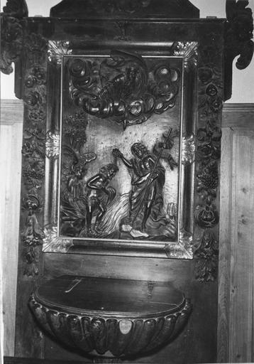 retable des fonts baptismaux, bois sculpté, 18e siècle