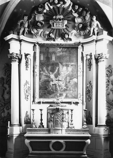 Maître-autel et tableau : Le Martyre de saint Laurent, 18e siècle