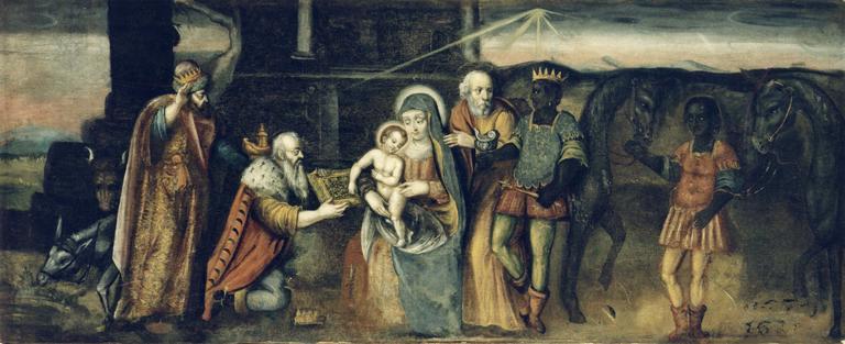 tableau (panneau peint) : L'Adoration des Mages, après restauration