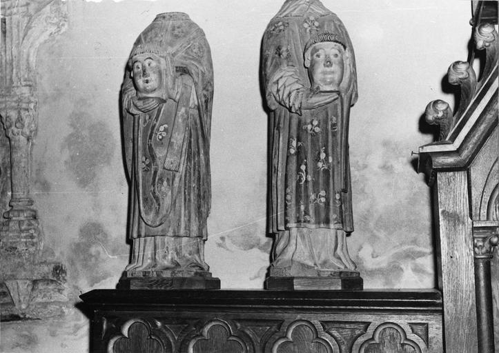 2 statuettes : Saint Ferréol, Saint Ferjeux, bois polychrome, 16e siècle