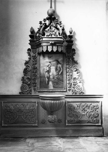 retable des fonts baptismaux, tableau : Le Baptême du Christ, 18e siècle
