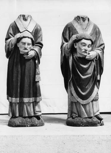 2 statues : Saint Ferréol, Saint Ferjeux, bois polychrome, 16e siècle