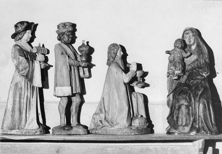 statue : Vierge à l'Enfant et rois Mages, bois, 16e siècle