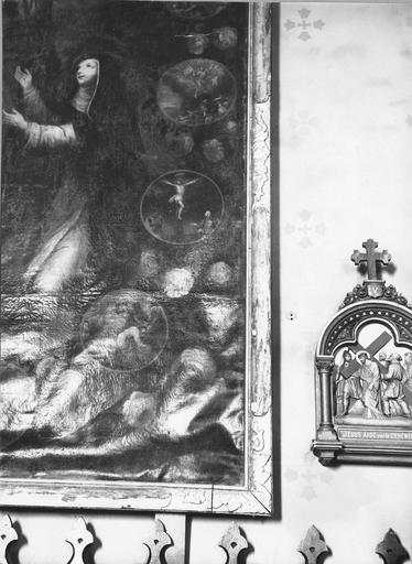 tableau : L'Institution du Rosaire, détail de la partie droite du tableau