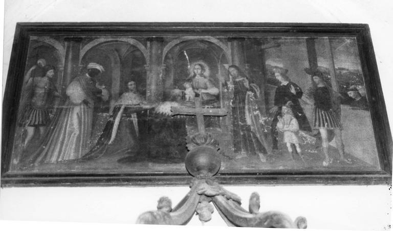 tableau : L'Adoration des Mages et une famille de donateurs