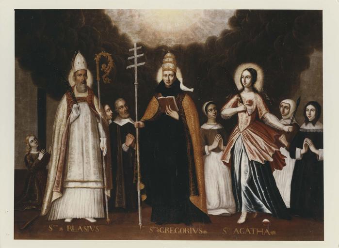 tableau : Saint Blaise, saint Grégoire, sainte Agathe, donateurs et donatrices, après restauration