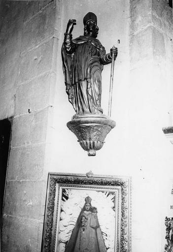 statue : Saint évêque, bois doré, 18e siècle