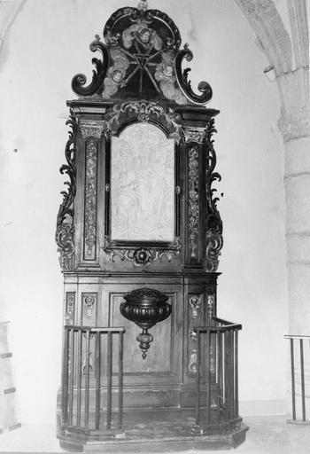 retable des fonts baptismaux, bois doré et polychrome, 18e siècle