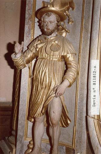 statue : Saint Roch, du retable nord, bois polychrome et dor,é 18e siècle