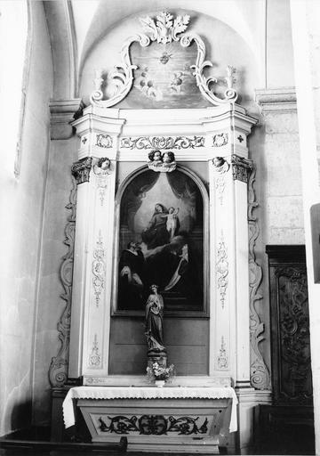 autel et retable latéral nord, tableau : L'Institution du Chapelet
