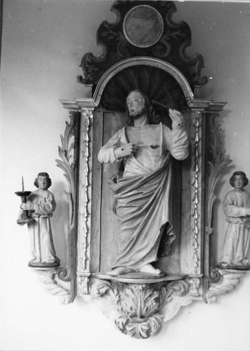statue : Le Sacré-Coeur, niche, 2 statuettes : Angelots, avant restauration