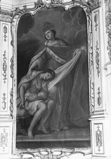 tableau : Sainte Elisabeth de Hongrie réconfortant un malade, 18e sècle