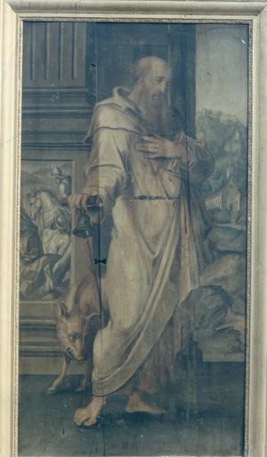 tableau (panneau peint) : Saint Antoine sur un fond de paysage et d'architecture