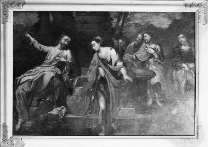 tableau : Jésus et la Samaritaine, huile sur toile, 17e siècle, copie d'après Annibal Carrache