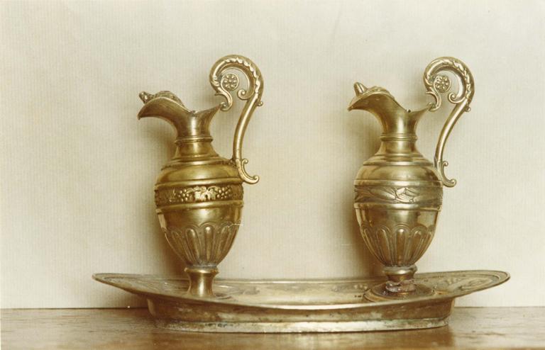 plateau à burettes et burettes, argent doré, début 19e siècle