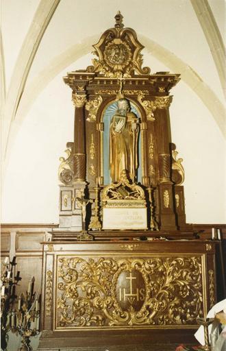 autel retable latéral sud, statue : Saint Antoine, bois polychrome et doré, 17e siècle
