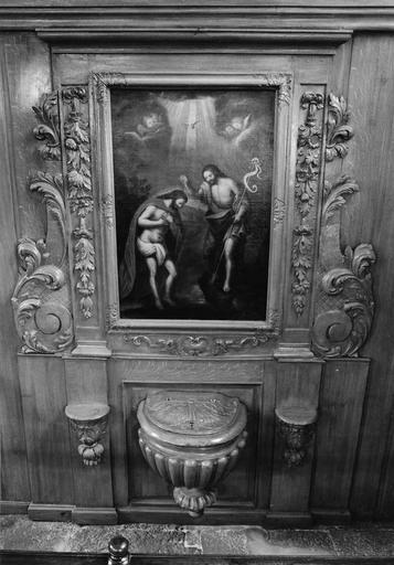 fonts baptismaux et leur retable, tableau : Le Baptême du Christ, 18e siècle