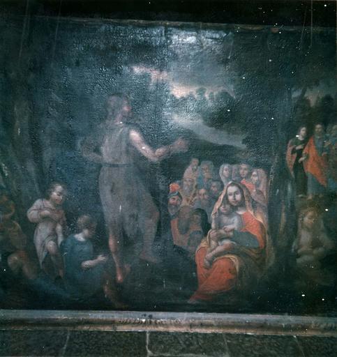 tableau : La Prédication de saint Jean-Baptiste, huile sur toile, 18e siècle
