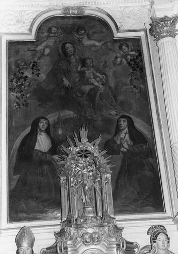 tableau : la Vierge à l'Enfant entre sainte Claire et sainte Colette, huile sur toile du retable latéral sud, fin 17e début 18e siècle, avant restauration