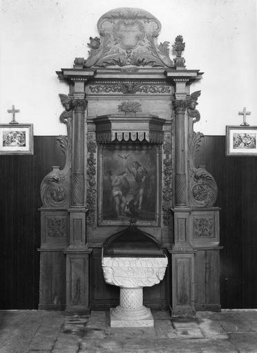 retable des fonts baptismaux avec le tableau : Baptême du Christ, huile sur toile