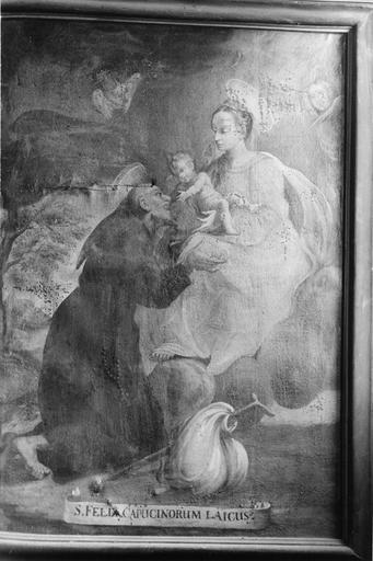 tableau : Saint Félix capucin devant la Vierge à l'Enfant, huile sur toile, 18e siècle