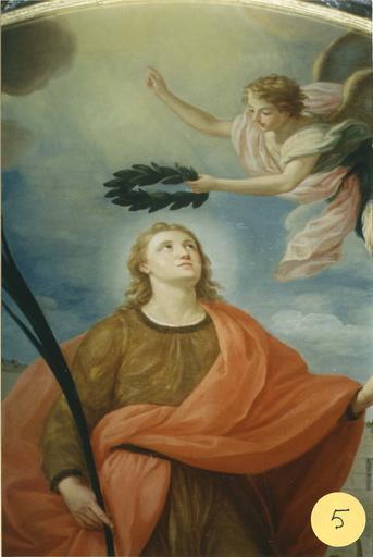 tableau : L'Apothéose de saint Guy, huile sur toile, 18e siècle, détail du saint et de l'ange, après restauration
