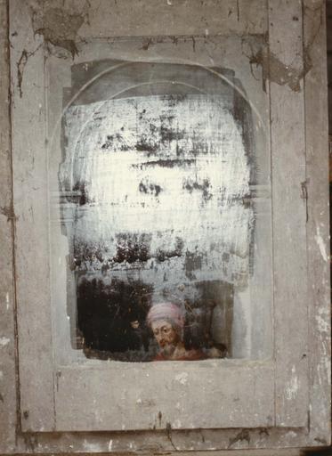 revers du tableau (panneau peint) : Saint Roch, partie haute visage du saint