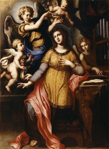 tableau : Sainte Cécile entourée d'anges, après restauration