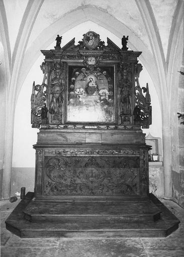 autel et retable du Rosaire, bois sculpté, 1ère moitié 17e siècle (1630)