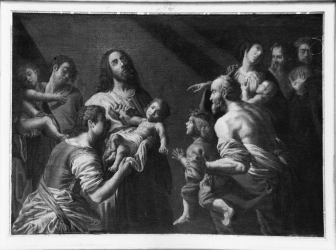 tableau : Jésus au milieu des petits enfants, huile sur toile, 18e ou 19e siècle