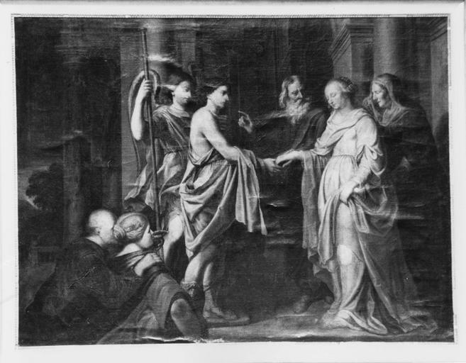 tableau : Les Fiançailles de Tobie, huile sur toile, 18e siècle ?