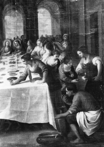 tableau : Les Noces de Cana, huile sur toile, 17e siècle ?, détail de la partie droite