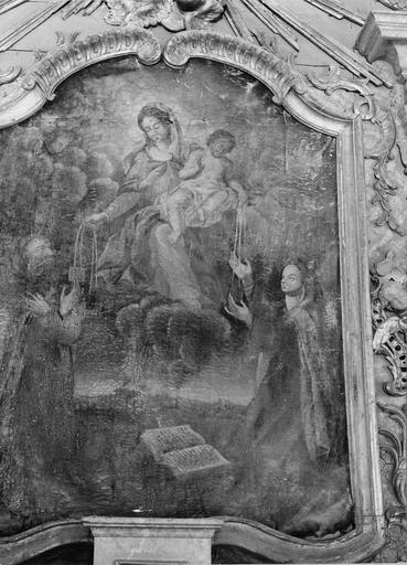 tableau du retable : Don du scapulaire, 18e siècle