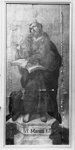 tableau : saint Marc évangéliste, huile sur toile, 18e siècle